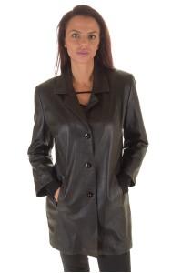 Sacou de damă elegant negru piele