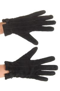 Mănuși de damă negre din piele întoarsă din piele naturală