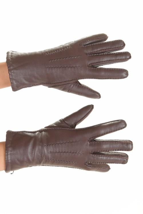 Mănuși maro închis din piele naturală 45.00