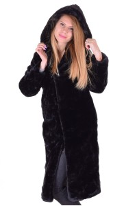 Palton lung din piele artificială