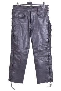 Pantalon de damă biker din piele naturală consistentă
