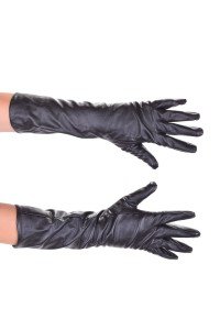 Mănuși cochete roșu închis lunge din piele artificială