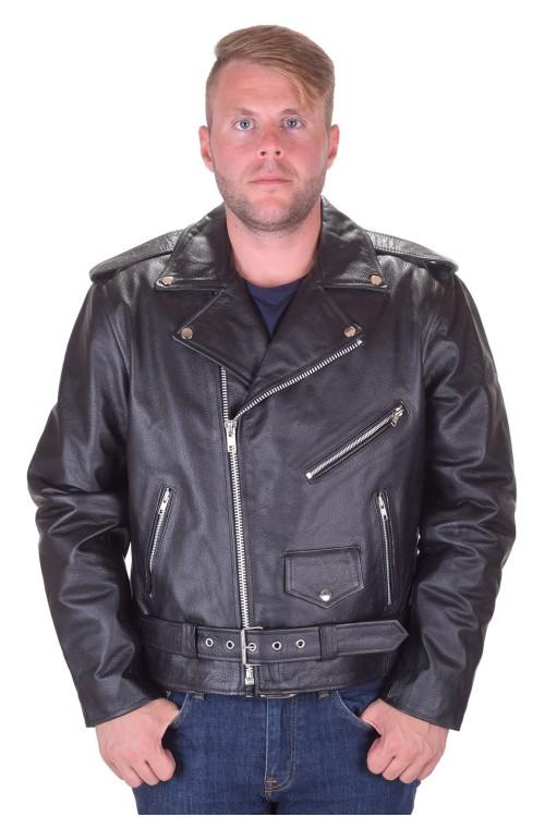 Geacă de clasa întâi neagră biker din piele naturală 345.00