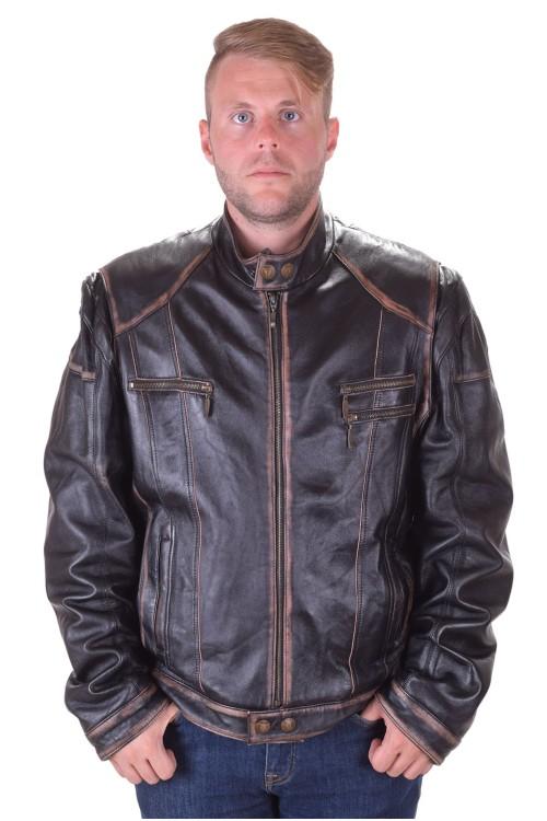 Geacă de bărbați modernă neagră vintage din piele naturală 238.00