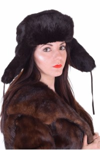 Pălărie de damă neagră de iepure
