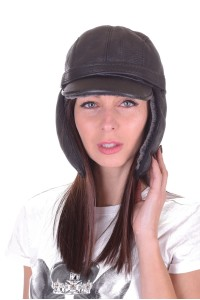 Pălărie drăguță neagră din piele naturală