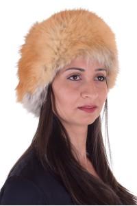 Pălărie de damă excelentă maro închis de vulpe